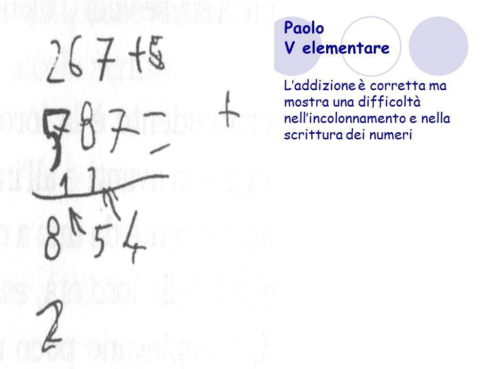 Paolo V elementare L'addizione è corretta ma mostra una difficoltà nell'incolonnamento e nella scrittura dei numeri