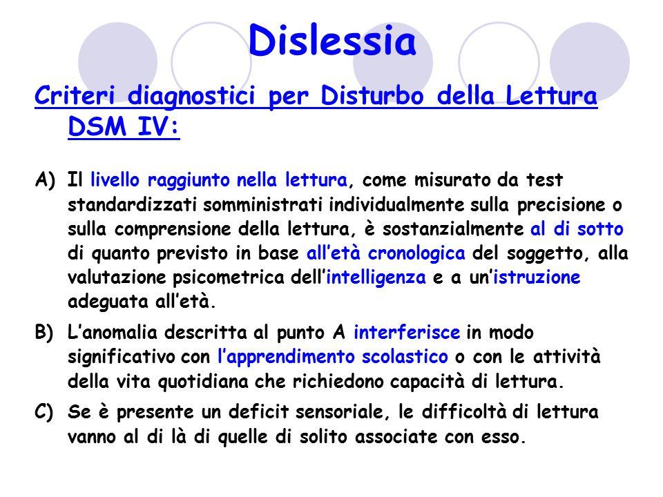 Dislessia Criteri diagnostici per Disturbo della Lettura DSM IV: A)Il livello raggiunto nella lettura, come misurato da test standardizzati somministr