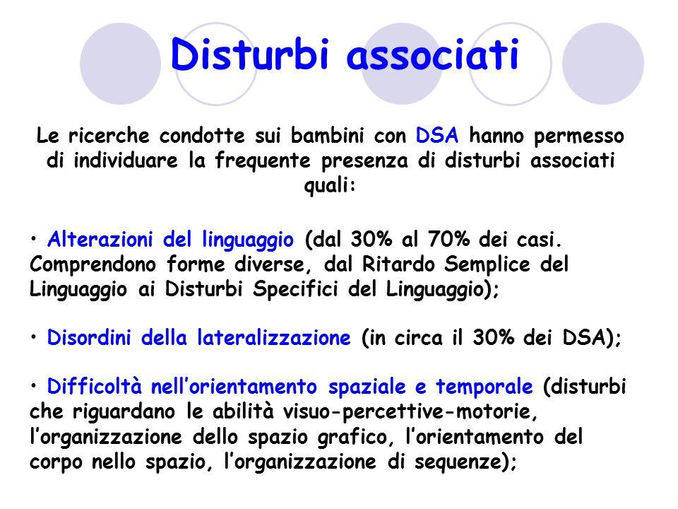 Disturbi associati Le ricerche condotte sui bambini con DSA hanno permesso di individuare la frequente presenza di disturbi associati quali: Alterazio