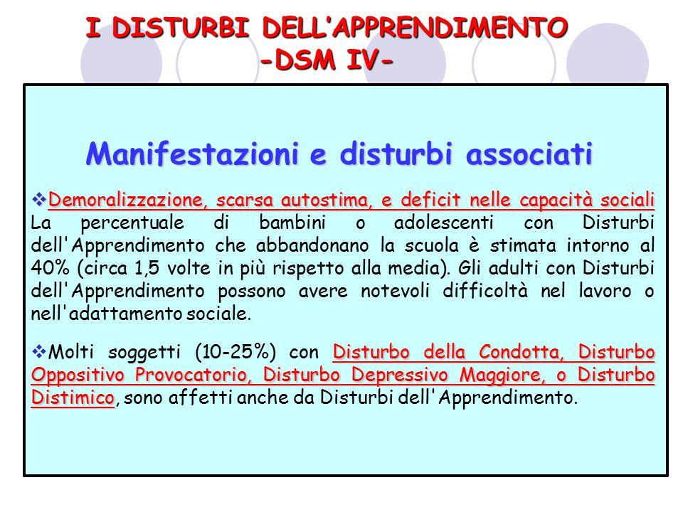 Manifestazioni e disturbi associati Manifestazioni e disturbi associati  Demoralizzazione, scarsa autostima, e deficit nelle capacità sociali  Demor