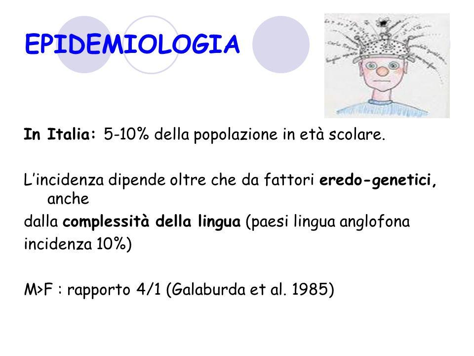 EPIDEMIOLOGIA In Italia: 5-10% della popolazione in età scolare. L'incidenza dipende oltre che da fattori eredo-genetici, anche dalla complessità dell