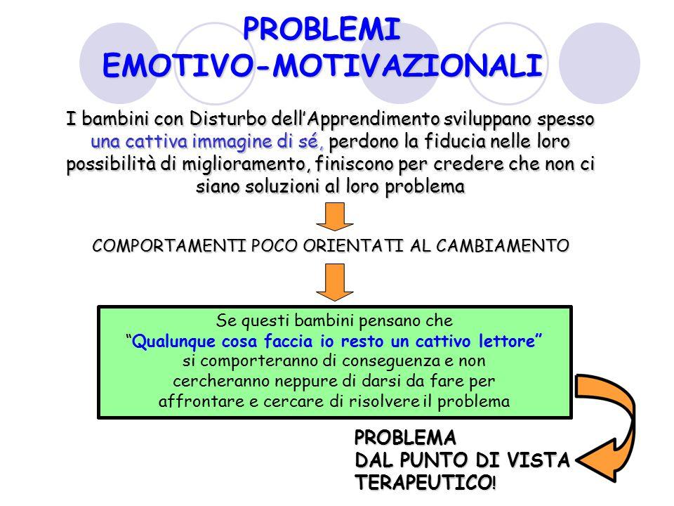 PROBLEMI EMOTIVO-MOTIVAZIONALI I bambini con Disturbo dell'Apprendimento sviluppano spesso una cattiva immagine di sé, perdono la fiducia nelle loro p