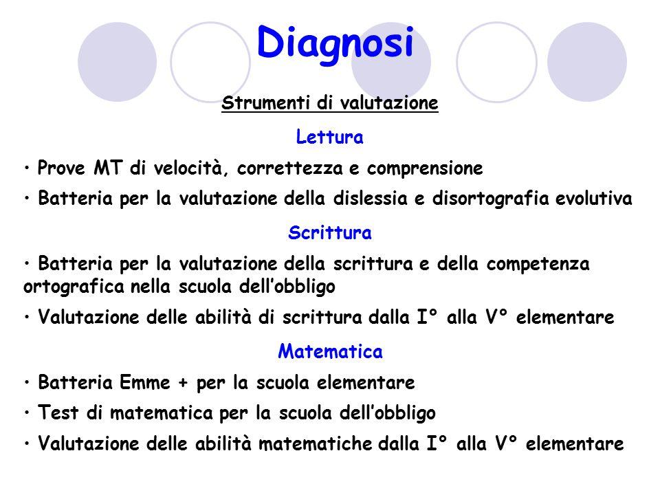 Diagnosi Strumenti di valutazione Lettura Prove MT di velocità, correttezza e comprensione Batteria per la valutazione della dislessia e disortografia