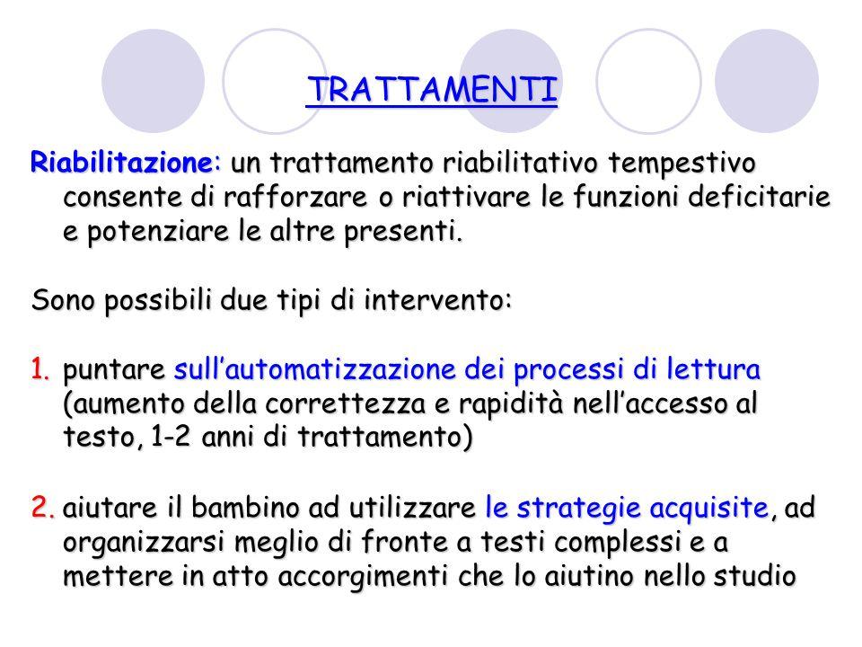 TRATTAMENTI Riabilitazione: un trattamento riabilitativo tempestivo consente di rafforzare o riattivare le funzioni deficitarie e potenziare le altre