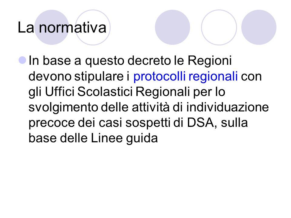 La normativa In base a questo decreto le Regioni devono stipulare i protocolli regionali con gli Uffici Scolastici Regionali per lo svolgimento delle