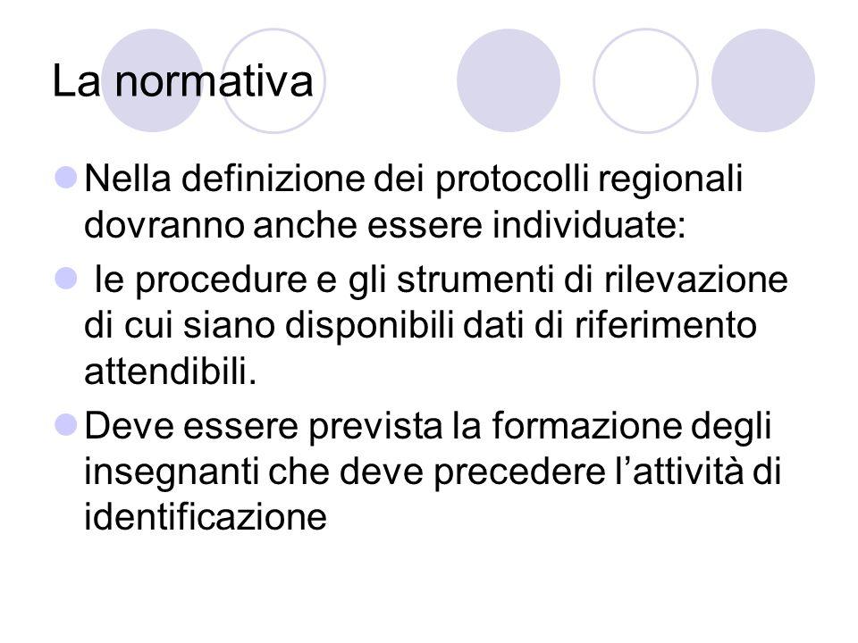 La normativa Nella definizione dei protocolli regionali dovranno anche essere individuate: le procedure e gli strumenti di rilevazione di cui siano di