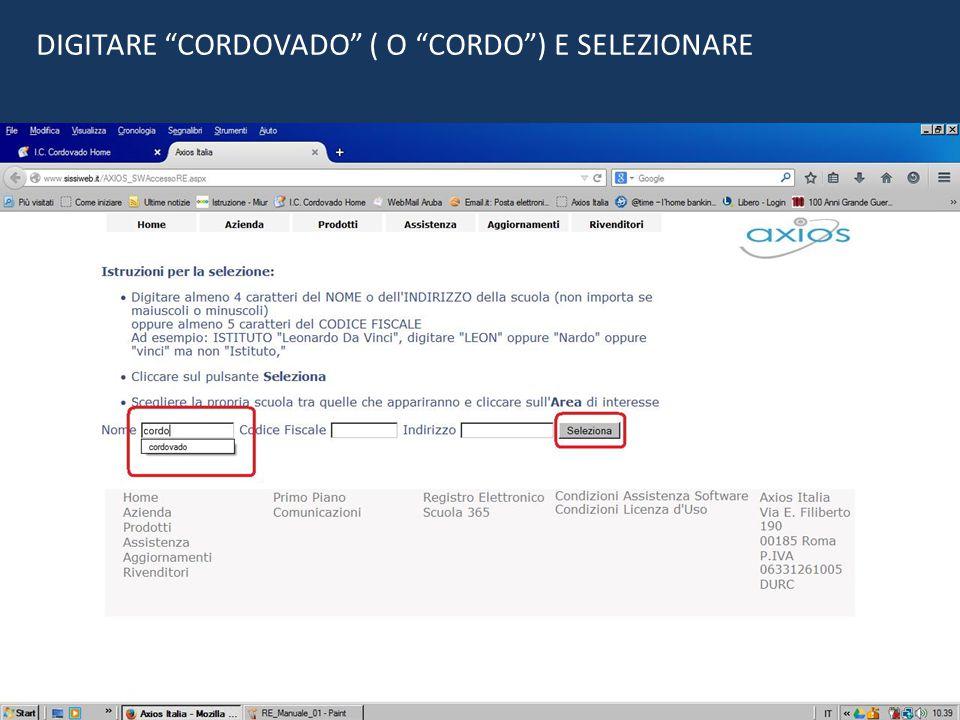 """DIGITARE """"CORDOVADO"""" ( O """"CORDO"""") E SELEZIONARE"""