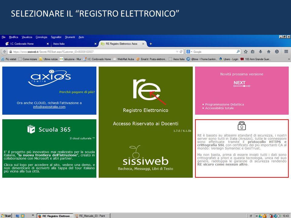 """SELEZIONARE IL """"REGISTRO ELETTRONICO"""""""