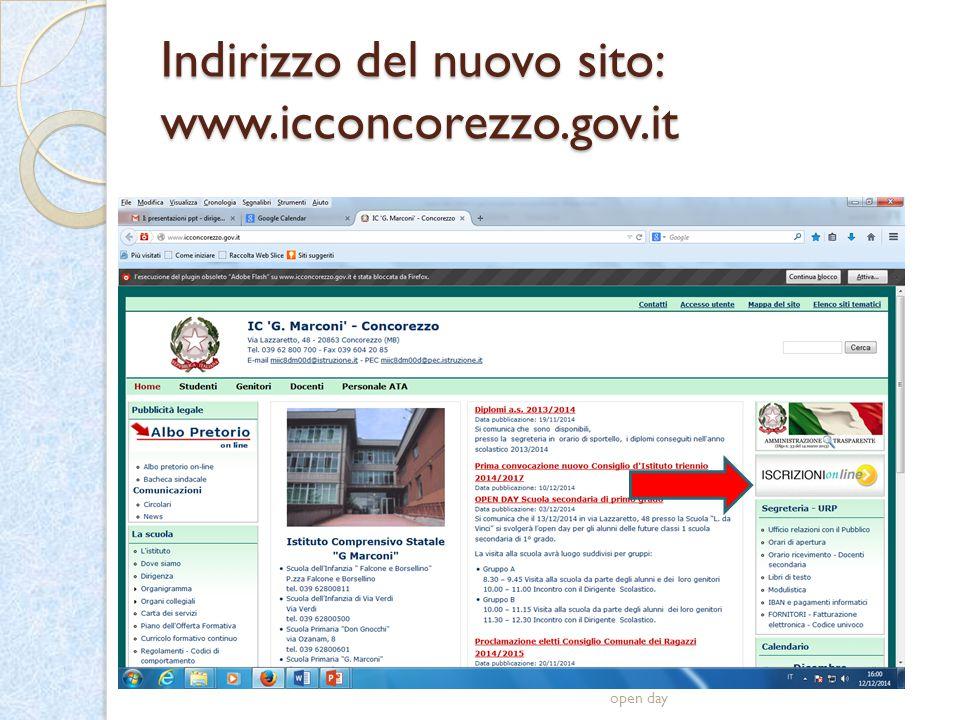 Indirizzo del nuovo sito: www.icconcorezzo.gov.it open day
