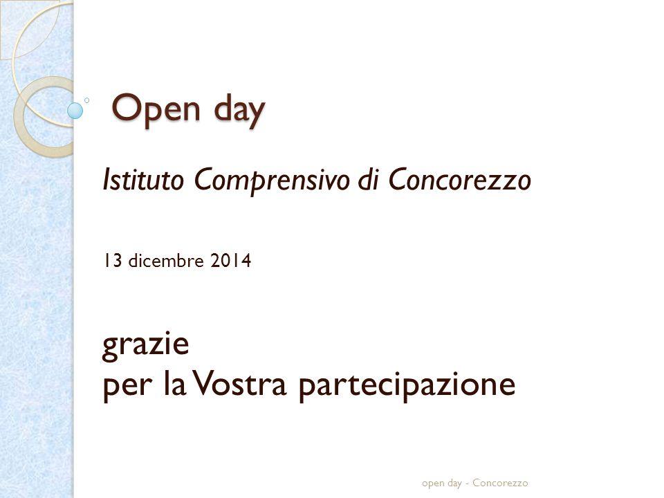 Open day Istituto Comprensivo di Concorezzo 13 dicembre 2014 grazie per la Vostra partecipazione open day - Concorezzo