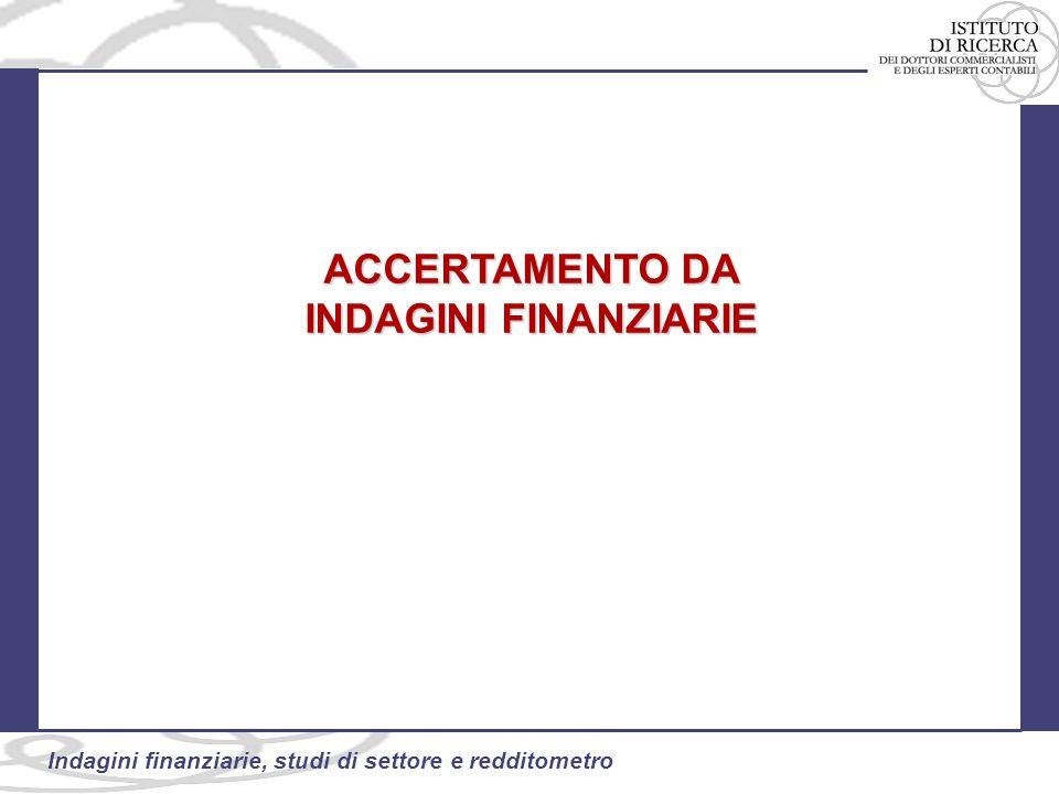 49 Indagini finanziarie, studi di settore e redditometro ACCERTAMENTO DA INDAGINI FINANZIARIE