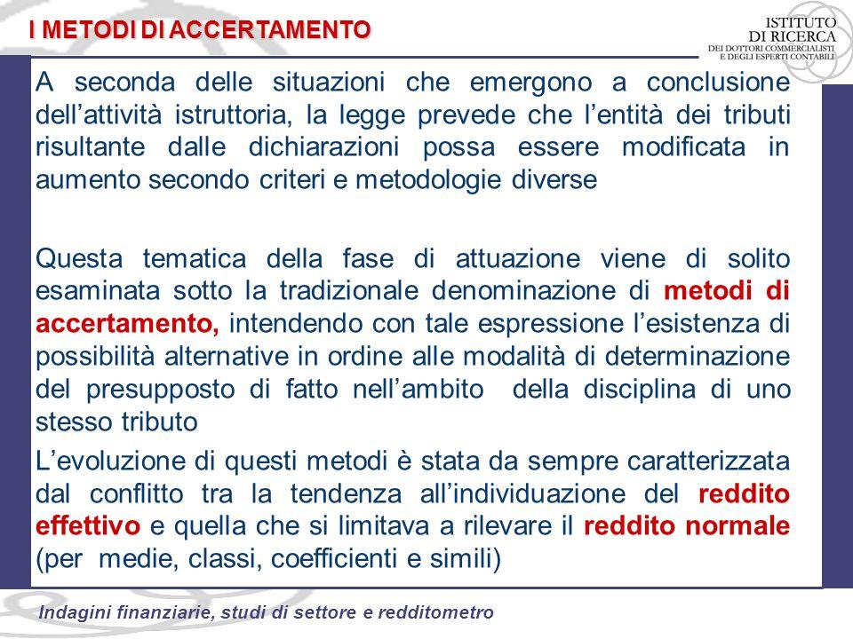 96 Indagini finanziarie, studi di settore e redditometro LA CIRCOLARE N.