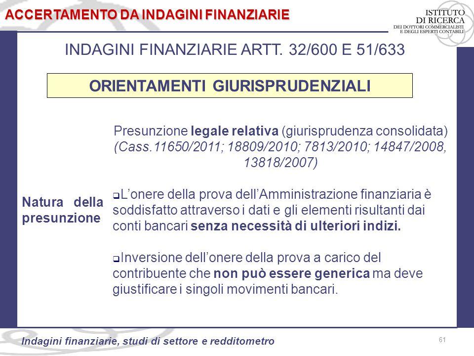 61 Indagini finanziarie, studi di settore e redditometro 61 ACCERTAMENTO DA INDAGINI FINANZIARIE INDAGINI FINANZIARIE ARTT.