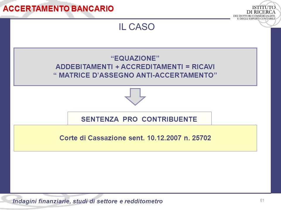 81 Indagini finanziarie, studi di settore e redditometro EQUAZIONE ADDEBITAMENTI + ACCREDITAMENTI = RICAVI MATRICE D'ASSEGNO ANTI-ACCERTAMENTO 81 ACCERTAMENTO BANCARIO IL CASO Corte di Cassazione sent.