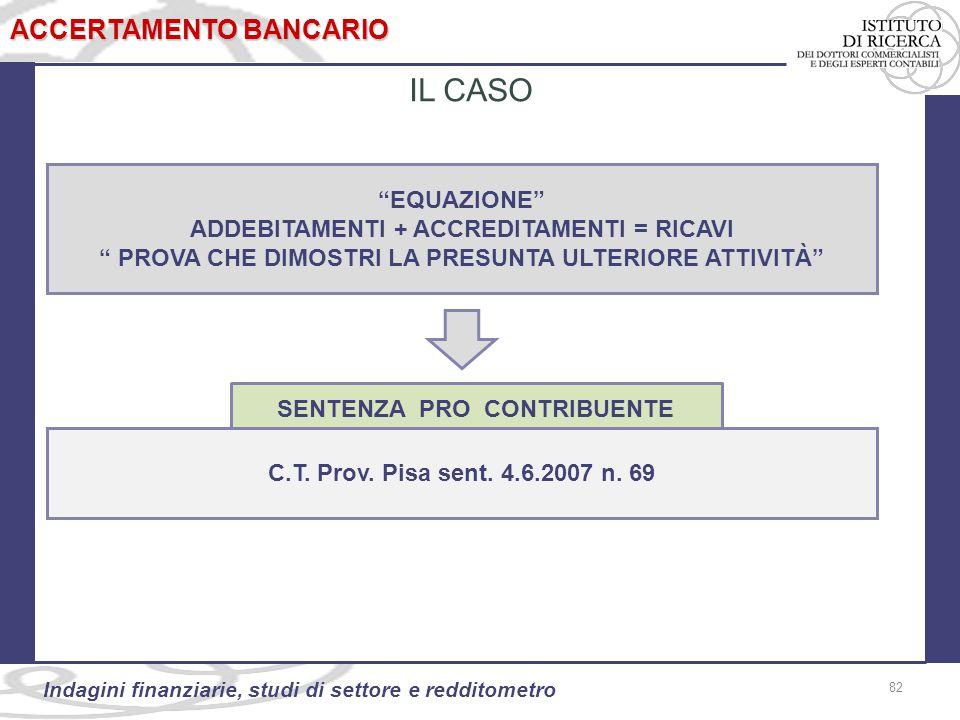 82 Indagini finanziarie, studi di settore e redditometro EQUAZIONE ADDEBITAMENTI + ACCREDITAMENTI = RICAVI PROVA CHE DIMOSTRI LA PRESUNTA ULTERIORE ATTIVITÀ 82 ACCERTAMENTO BANCARIO IL CASO C.T.