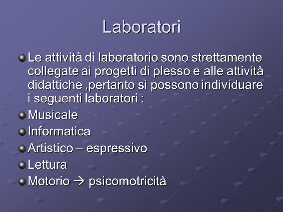 Laboratori Le attività di laboratorio sono strettamente collegate ai progetti di plesso e alle attività didattiche,pertanto si possono individuare i seguenti laboratori : Musicale Informatica Artistico – espressivo Lettura Motorio  psicomotricità