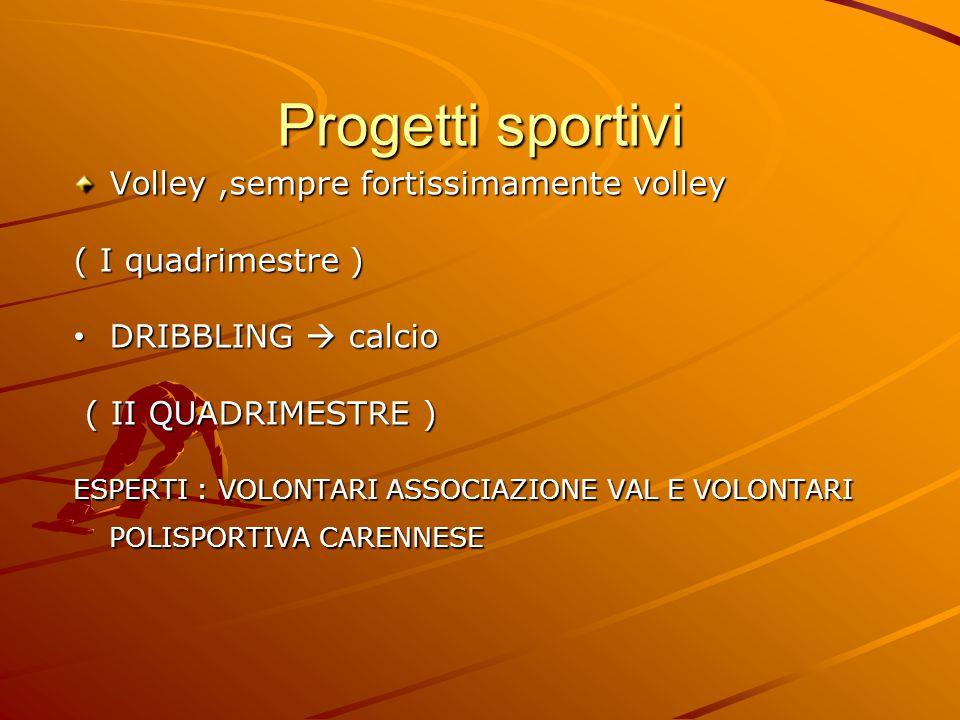 Progetti sportivi Volley,sempre fortissimamente volley ( I quadrimestre ) DRIBBLING  calcio DRIBBLING  calcio ( II QUADRIMESTRE ) ( II QUADRIMESTRE ) ESPERTI : VOLONTARI ASSOCIAZIONE VAL E VOLONTARI POLISPORTIVA CARENNESE
