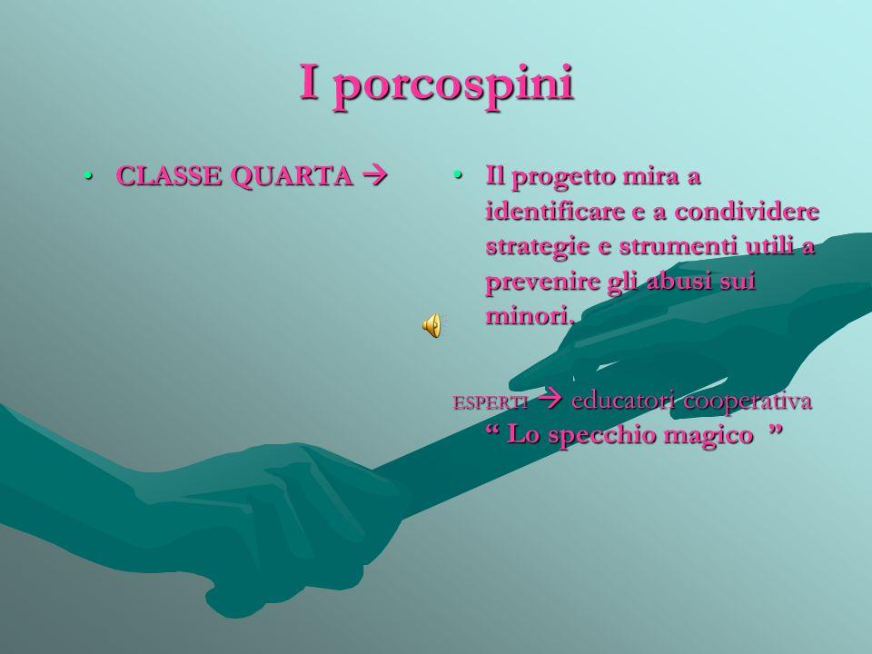 I porcospini CLASSE QUARTA CLASSE QUARTA  Il progetto mira a identificare e a condividere strategie e strumenti utili a prevenire gli abusi sui minori.