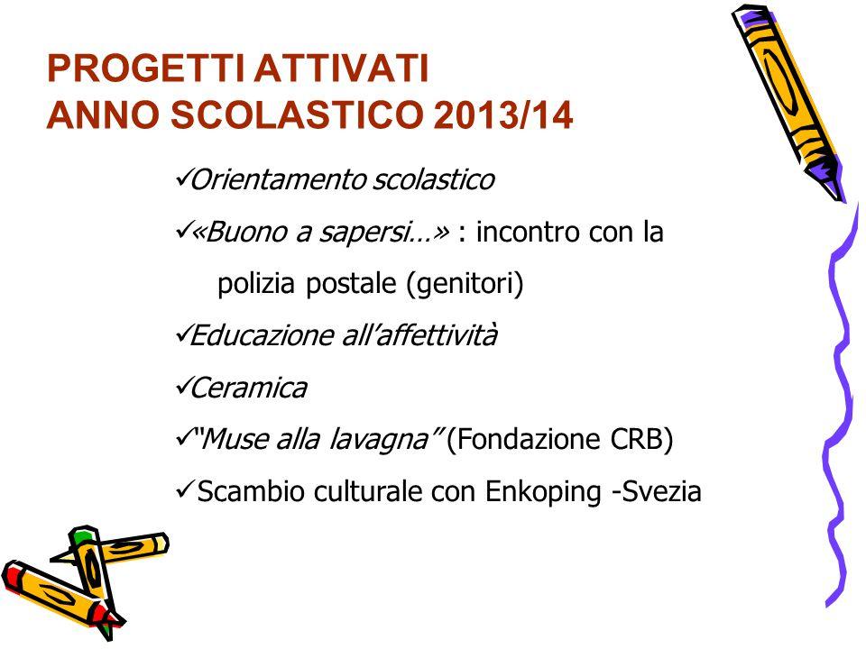 PROGETTI ATTIVATI ANNO SCOLASTICO 2013/14 Orientamento scolastico «Buono a sapersi…» : incontro con la polizia postale (genitori) Educazione all'affet