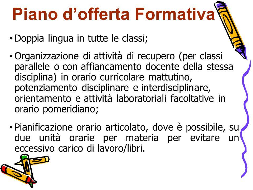 Piano d'offerta Formativa Doppia lingua in tutte le classi; Organizzazione di attività di recupero (per classi parallele o con affiancamento docente d
