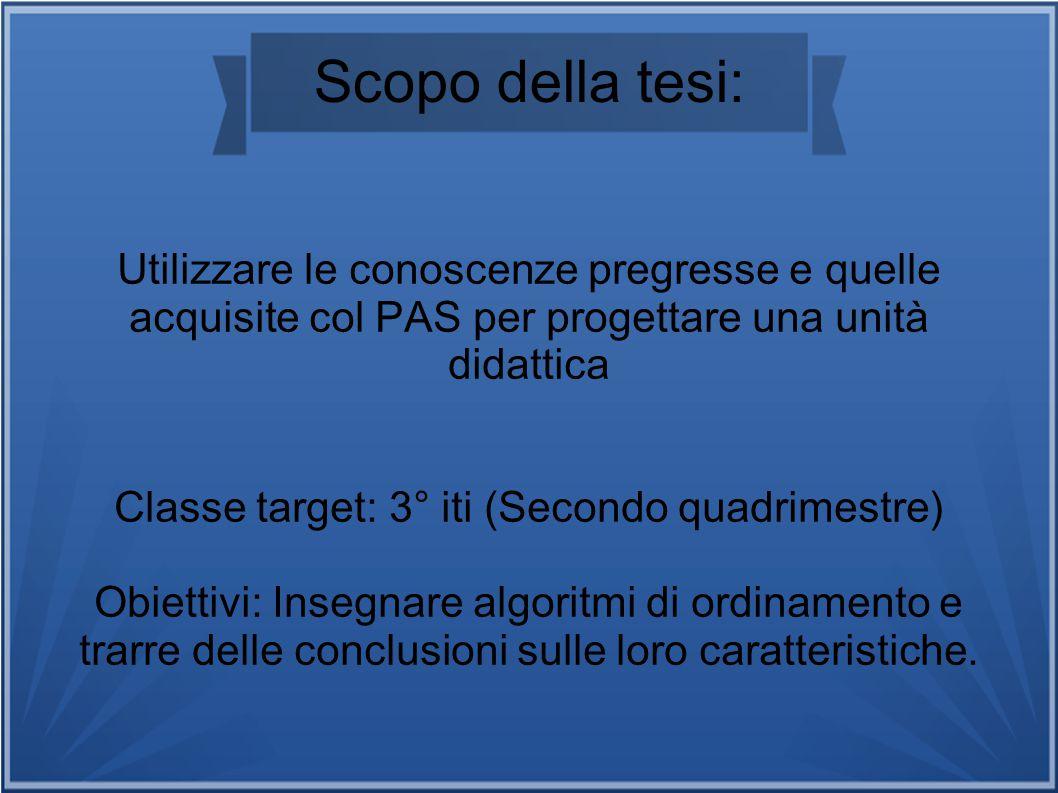 Scopo della tesi: Utilizzare le conoscenze pregresse e quelle acquisite col PAS per progettare una unità didattica Classe target: 3° iti (Secondo quad
