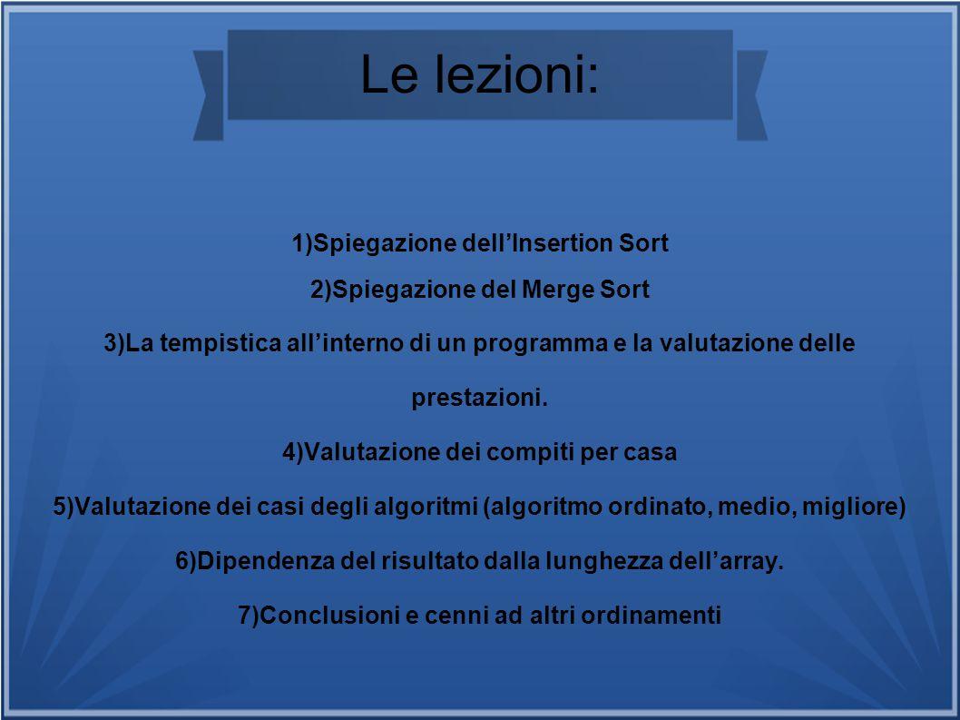 Le lezioni: 1)Spiegazione dell'Insertion Sort 2)Spiegazione del Merge Sort 3)La tempistica all'interno di un programma e la valutazione delle prestazi