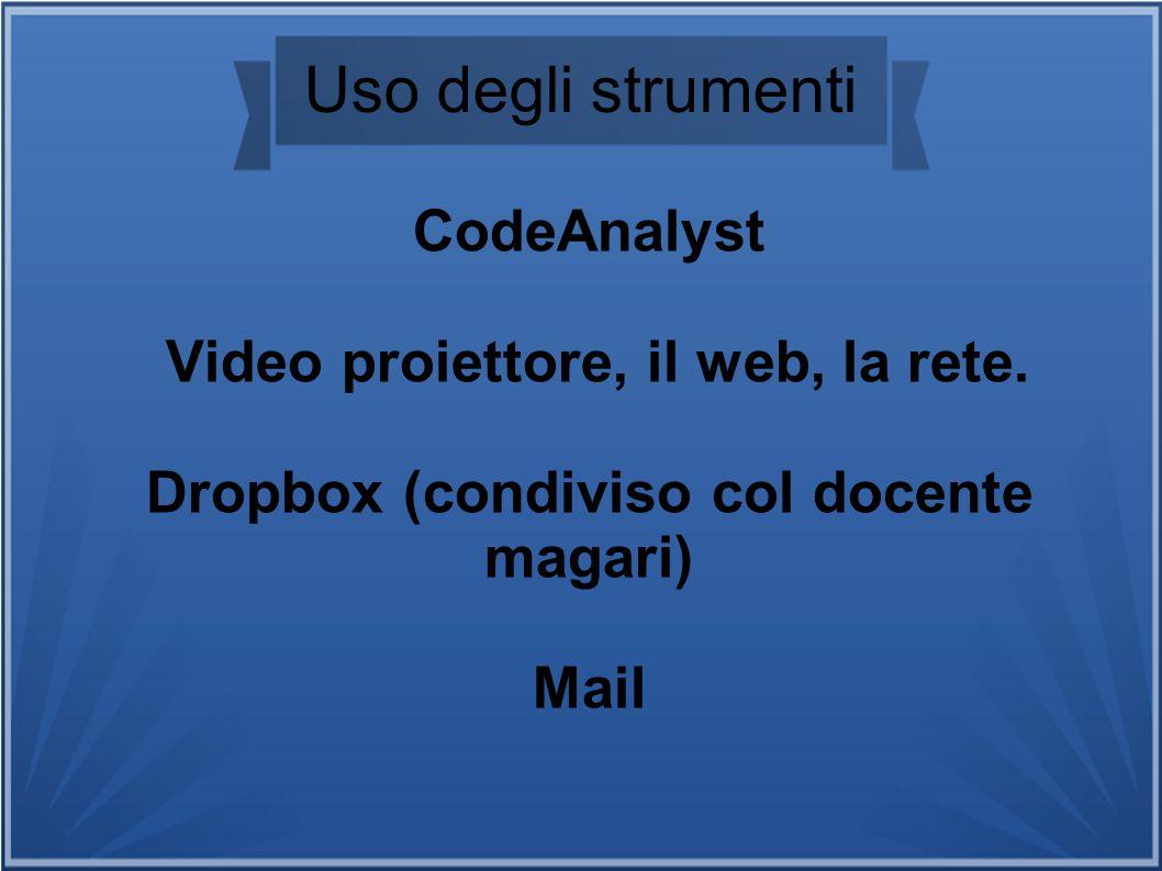 Uso degli strumenti CodeAnalyst Video proiettore, il web, la rete. Dropbox (condiviso col docente magari) Mail