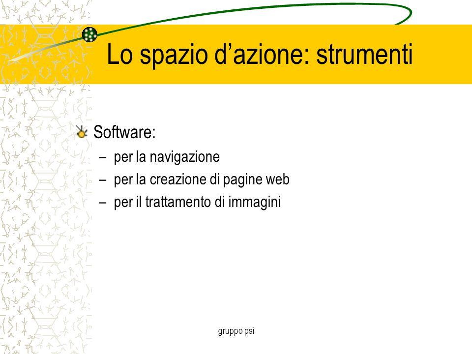 gruppo psi Lo spazio d'azione: strumenti Software: –per la navigazione –per la creazione di pagine web –per il trattamento di immagini