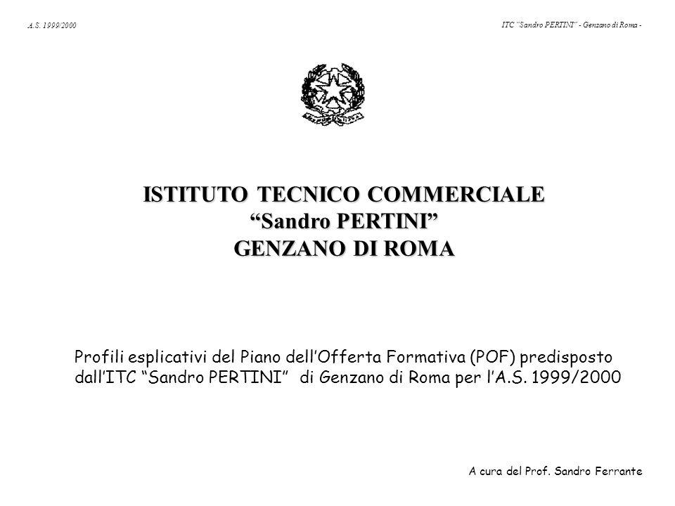 """A.S. 1999/2000 ITC """"Sandro PERTINI"""" - Genzano di Roma - ISTITUTO TECNICO COMMERCIALE """"Sandro PERTINI"""" GENZANO DI ROMA Profili esplicativi del Piano de"""