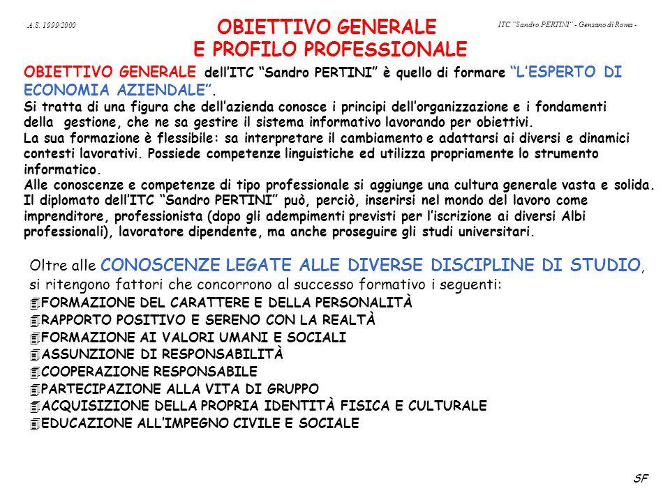 OBIETTIVO GENERALE E PROFILO PROFESSIONALE OBIETTIVO GENERALE dell'ITC Sandro PERTINI è quello di formare L'ESPERTO DI ECONOMIA AZIENDALE .
