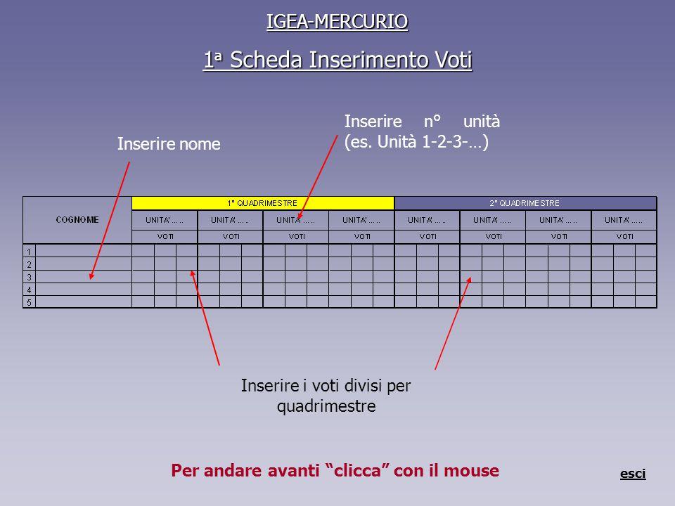 IGEA-MERCURIO 1 a Scheda Inserimento Voti esci Inserire nome Inserire i voti divisi per quadrimestre Inserire n° unità (es.