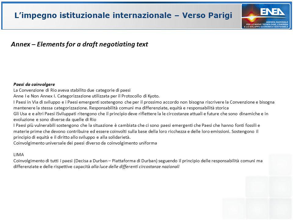 Paesi da coinvolgere La Convenzione di Rio aveva stabilito due categorie di paesi Anne I e Non Annex I. Categorizzazione utilizzata per il Protocollo