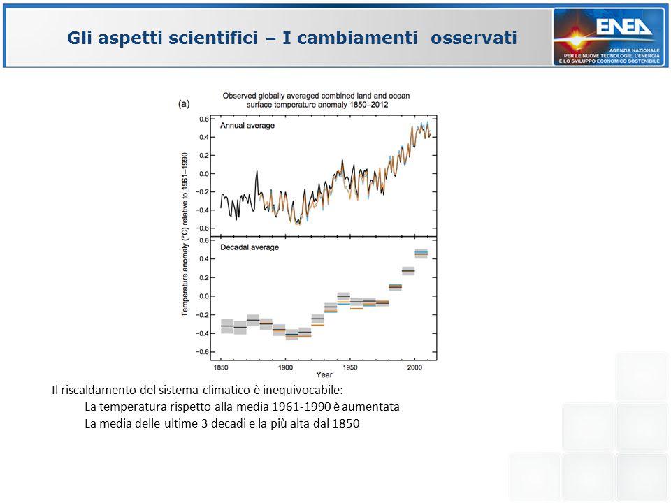 Il riscaldamento del sistema climatico è inequivocabile: La temperatura rispetto alla media 1961-1990 è aumentata La media delle ultime 3 decadi e la più alta dal 1850 Gli aspetti scientifici – I cambiamenti osservati