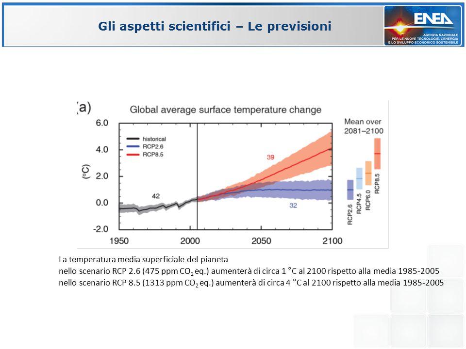 Gli aspetti scientifici – Le previsioni La temperatura media superficiale del pianeta nello scenario RCP 2.6 (475 ppm CO 2 eq.) aumenterà di circa 1 °C al 2100 rispetto alla media 1985-2005 nello scenario RCP 8.5 (1313 ppm CO 2 eq.) aumenterà di circa 4 °C al 2100 rispetto alla media 1985-2005