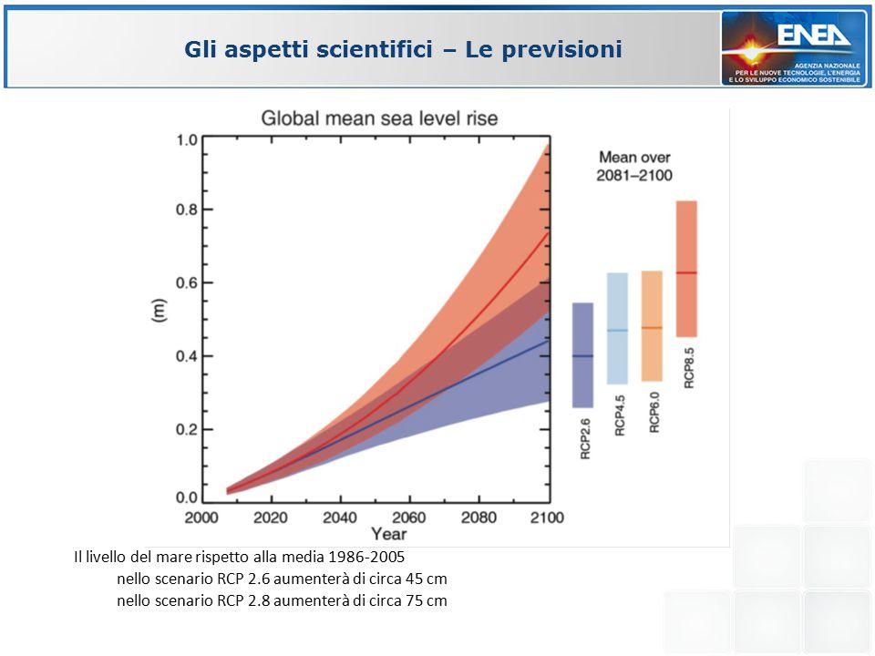 Il livello del mare rispetto alla media 1986-2005 nello scenario RCP 2.6 aumenterà di circa 45 cm nello scenario RCP 2.8 aumenterà di circa 75 cm Gli aspetti scientifici – Le previsioni