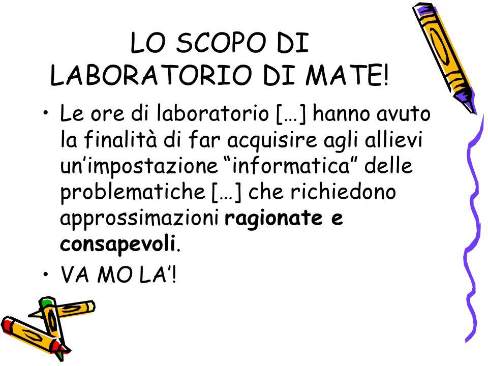 LO SCOPO DI LABORATORIO DI MATE.