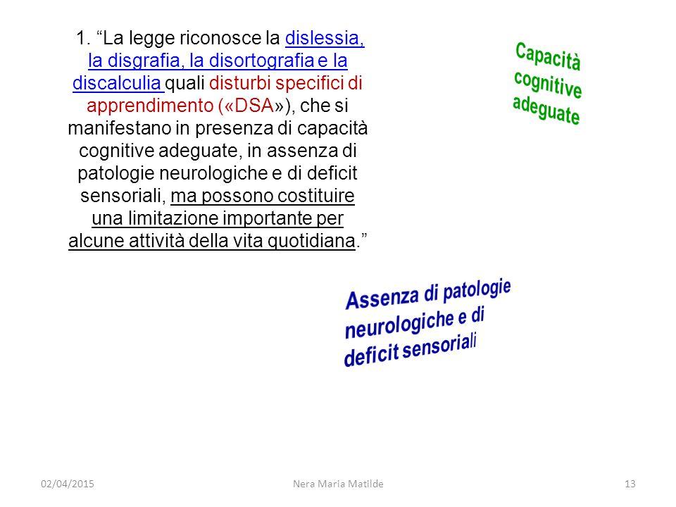"""Nera Maria Matilde13 1. """"La legge riconosce la dislessia, la disgrafia, la disortografia e la discalculia quali disturbi specifici di apprendimento («"""