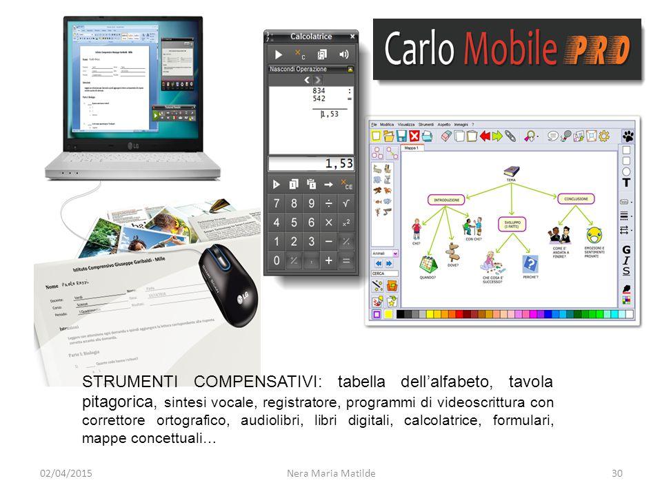 3002/04/2015 STRUMENTI COMPENSATIVI: tabella dell'alfabeto, tavola pitagorica, sintesi vocale, registratore, programmi di videoscrittura con correttor