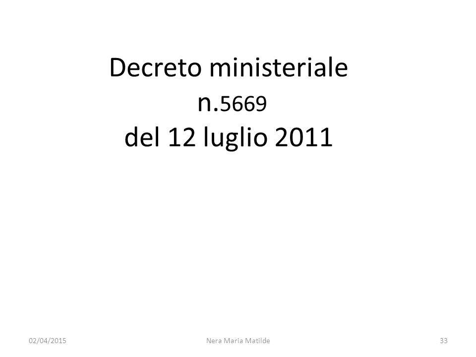 Decreto ministeriale n. 5669 del 12 luglio 2011 Nera Maria Matilde3302/04/2015