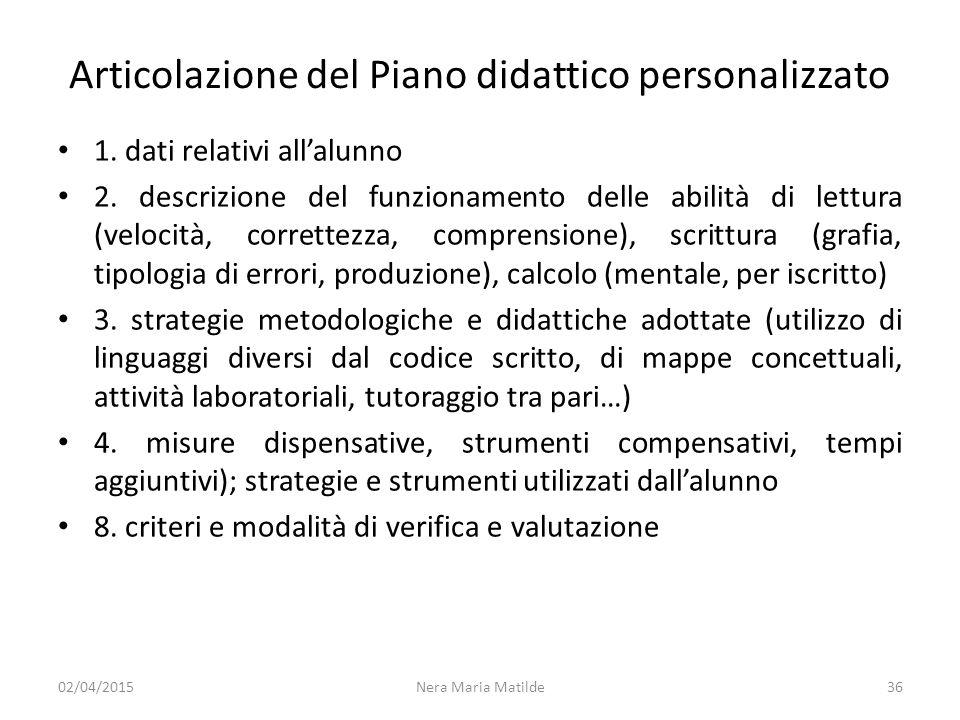 Articolazione del Piano didattico personalizzato 1. dati relativi all'alunno 2. descrizione del funzionamento delle abilità di lettura (velocità, corr