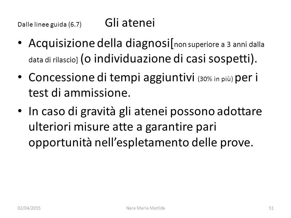 Dalle linee guida (6.7) Gli atenei Acquisizione della diagnosi[ non superiore a 3 anni dalla data di rilascio] (o individuazione di casi sospetti). Co