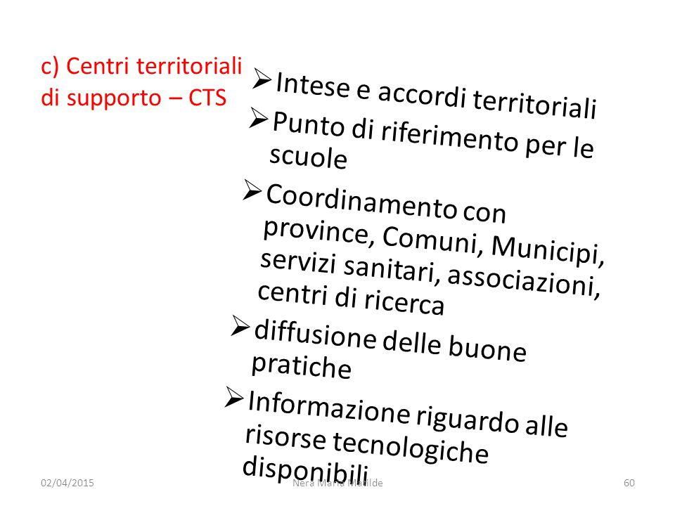 c) Centri territoriali di supporto – CTS  Intese e accordi territoriali  Punto di riferimento per le scuole  Coordinamento con province, Comuni, Mu