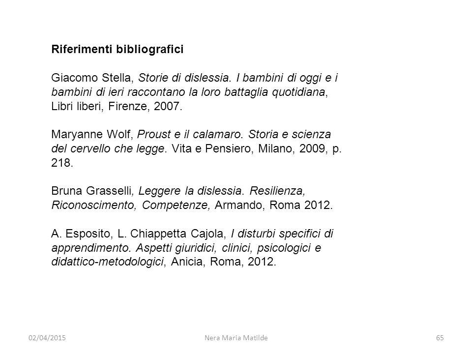 02/04/2015Nera Maria Matilde65 Riferimenti bibliografici Giacomo Stella, Storie di dislessia. I bambini di oggi e i bambini di ieri raccontano la loro