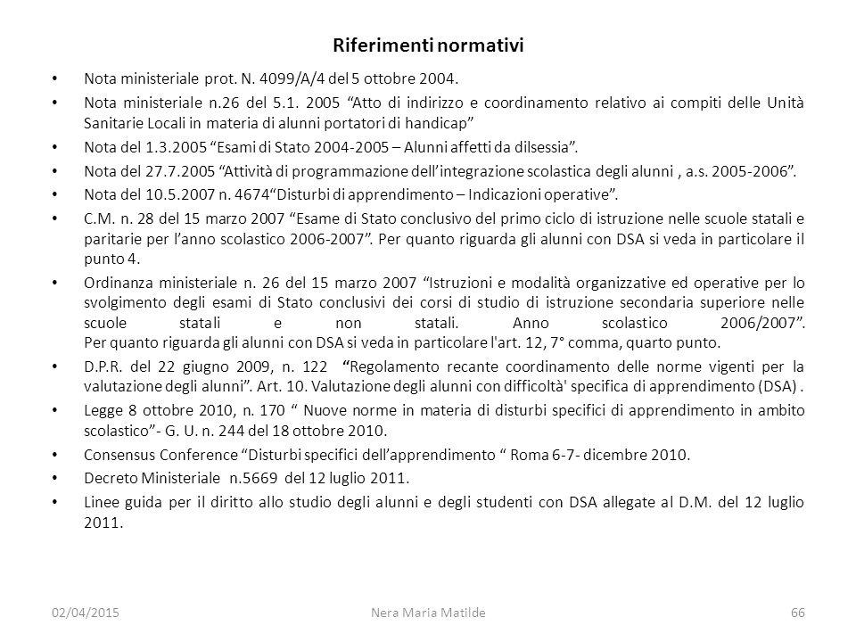 """Riferimenti normativi Nota ministeriale prot. N. 4099/A/4 del 5 ottobre 2004. Nota ministeriale n.26 del 5.1. 2005 """"Atto di indirizzo e coordinamento"""