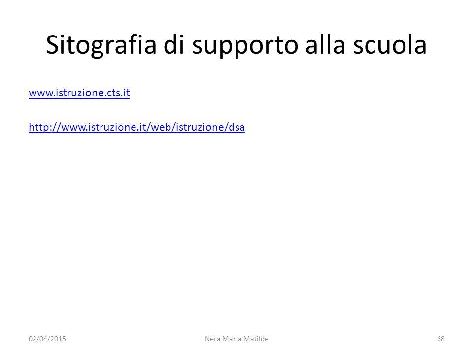Sitografia di supporto alla scuola www.istruzione.cts.it http://www.istruzione.it/web/istruzione/dsa 02/04/2015Nera Maria Matilde68