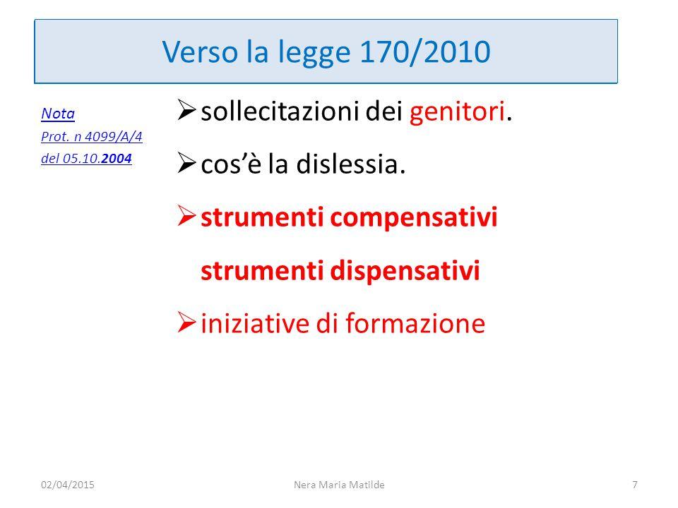 Verso la legge 170/2010 Nota Prot. n 4099/A/4 del 05.10.2004  sollecitazioni dei genitori.  cos'è la dislessia.  strumenti compensativi strumenti d