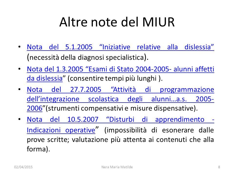 """Altre note del MIUR Nota del 5.1.2005 """"Iniziative relative alla dislessia"""" ( necessità della diagnosi specialistica ). Nota del 5.1.2005 """"Iniziative r"""