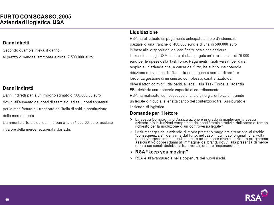 10 Danni diretti Secondo quanto si rileva, il danno, al prezzo di vendita, ammonta a circa 7.500.000 euro.