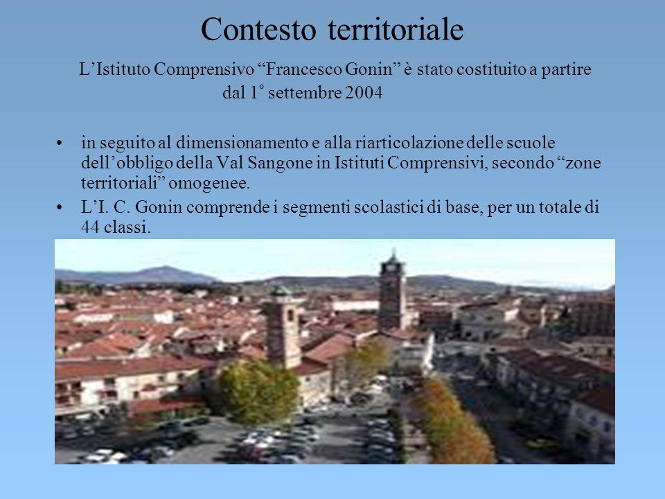 Contesto territoriale L'Istituto Comprensivo Francesco Gonin è stato costituito a partire dal 1° settembre 2004 in seguito al dimensionamento e alla riarticolazione delle scuole dell'obbligo della Val Sangone in Istituti Comprensivi, secondo zone territoriali omogenee.