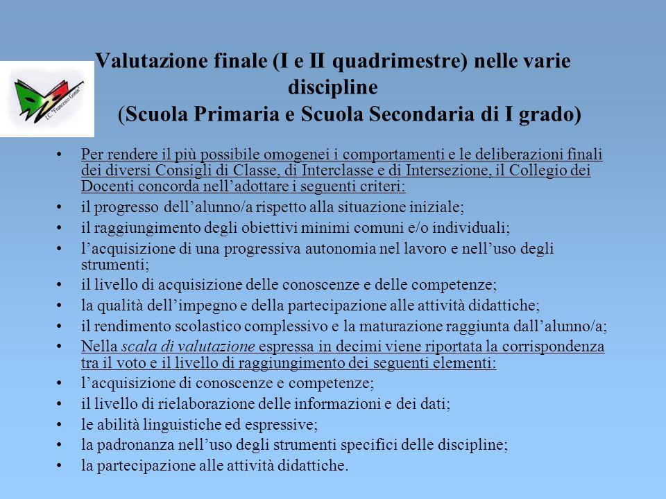 Criteri di valutazione Il Regolamento per la valutazione degli alunni (DPR 22 giugno 2009, n.